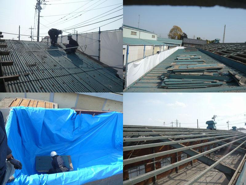 今回は、屋根材が波型スレート(非飛散性アスベスト)なので、資格保持者による手作業で剥がしました。その様子です。