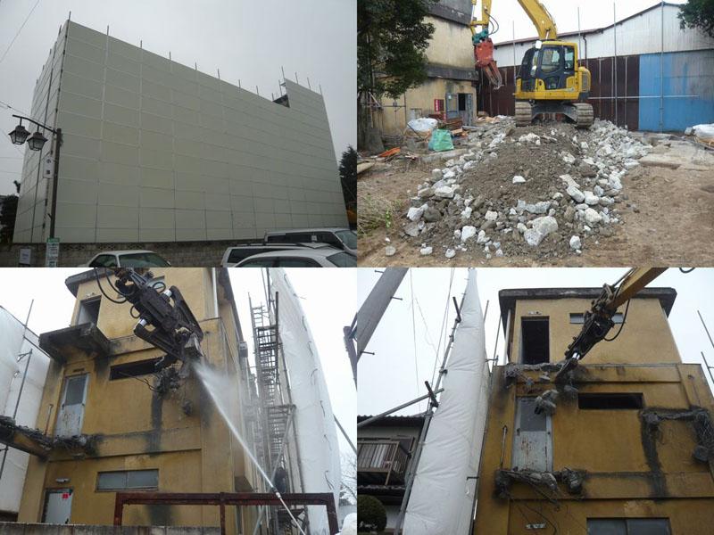 粉塵、廃材の飛散防止の対策をし、トラブルのない様心掛けています。そして、建物の構造を把握し、壁を残しても外に倒れないように、人力または重機で前もって解体します